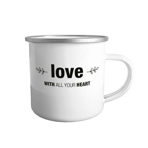 "Tasse Emaille ""love - with all your heart"""