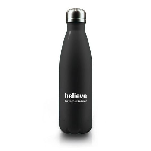 "Isolierflasche ""Believe: All things are possible"" (schwarz)"