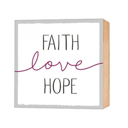 Holz-Deko-Bild - Faith - Love - Hope